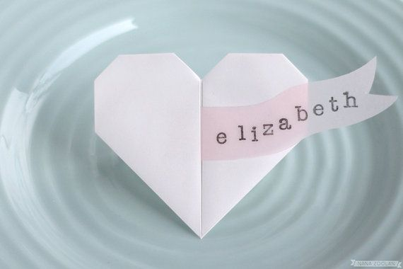 Origami Heart Name Place Cards Artquotes Pinterest Origami