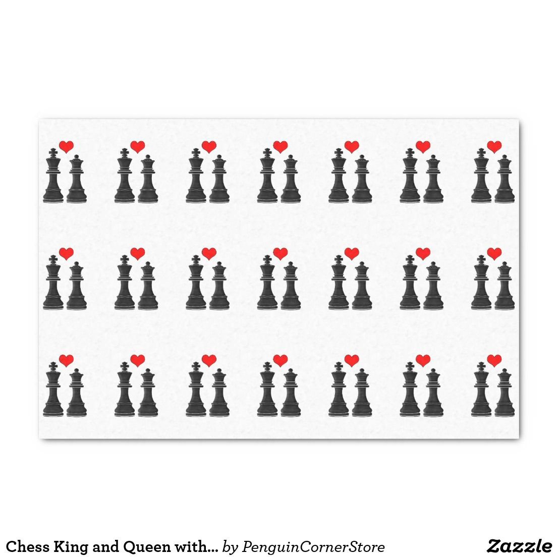Chess king and queen with heart tissue paper