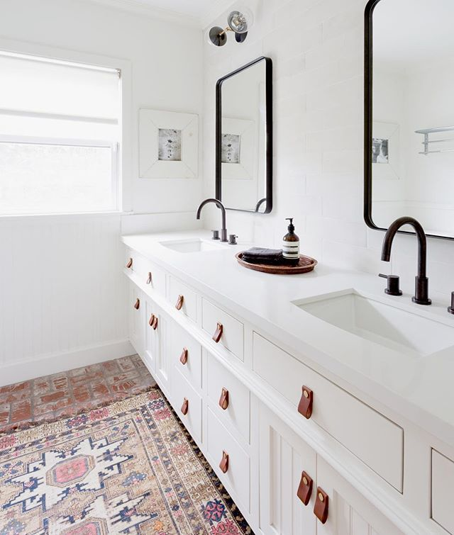 White Bathroom With Printer Moroccan Rug