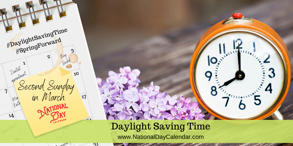 Daylight Saving Time Second Sunday In March National Day Calendar In 2020 Daylight Savings Time National Day Calendar Daylight Savings