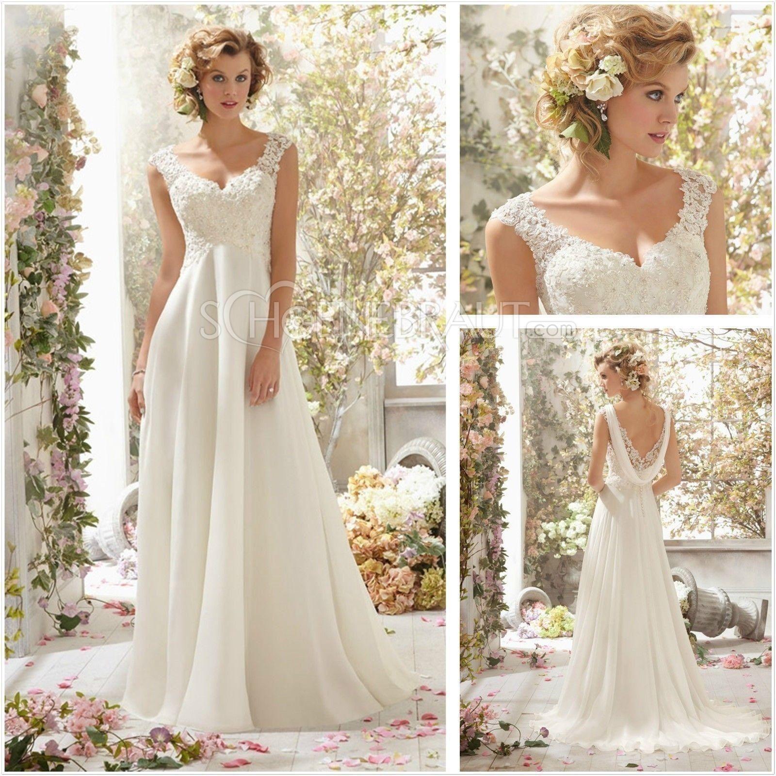 Kleid Standesamt Brautkleid Standesamt Spitze Lang mit Umhang