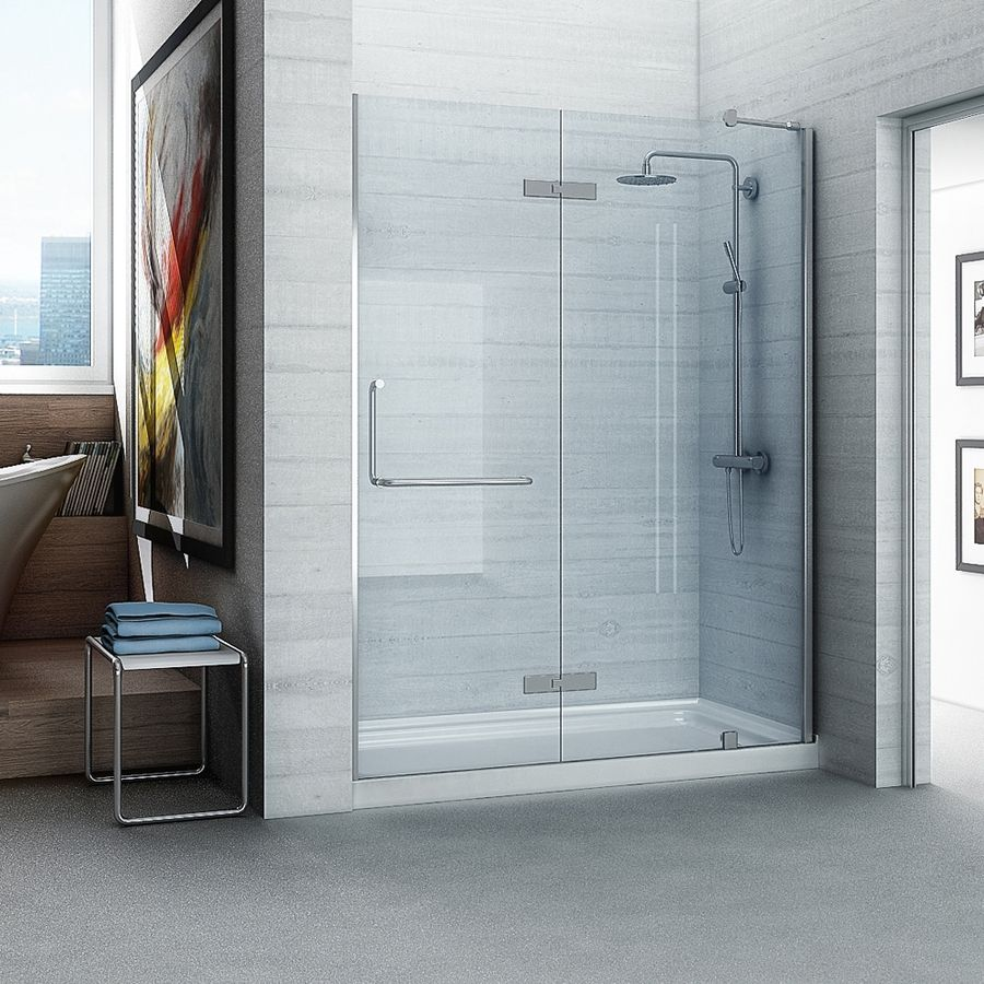 Shop Ove Decors Shelby 59 In To 60 In Brushed Nickel Frameless Hinged Shower Door At Lowes Com Alcove Shower Kits Shower Doors Frameless Hinged Shower Door