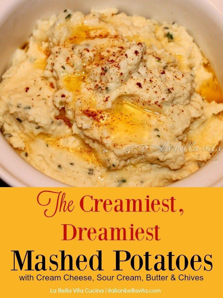 Absolutely the most creamy, garlic-y, and cheesy Mashed Potatoes Recipe with Cream Cheese, Sour Cream, Chives and Garlic! Perfect for your Thanksgiving and Holiday Table!