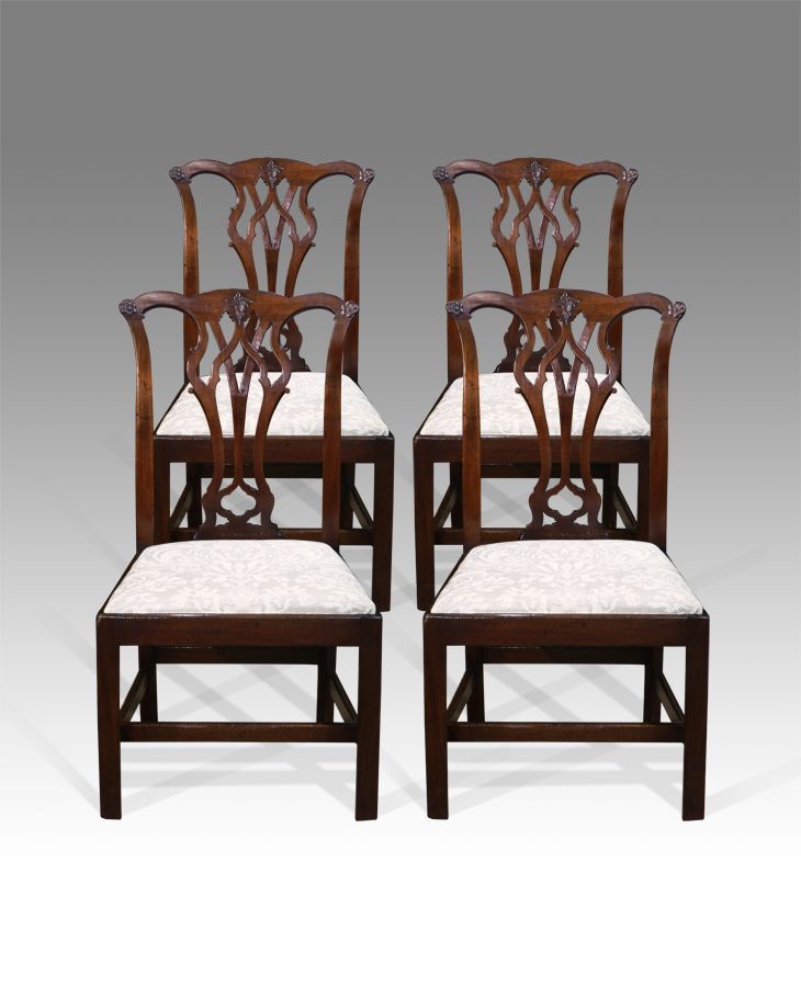 Antique Mahogany Dining Room Furniture: Set Of Four Fine Quality Mahogany
