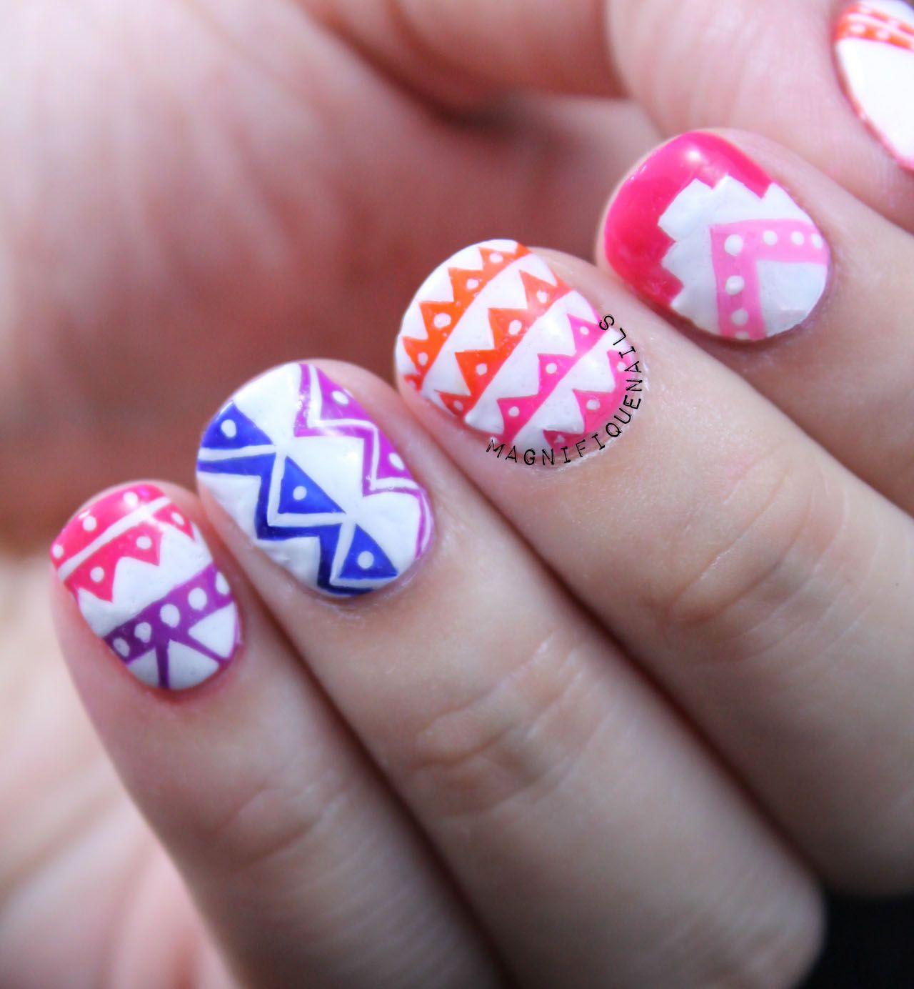 Essie Neon Tribal Nails #nailart | {Alphabet Nail Art Challenge ...