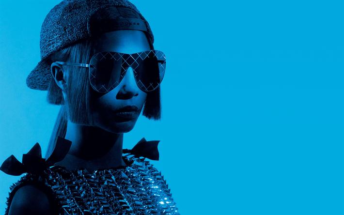 Lataa kuva 4k, Cara Delevingne, Hollywood, 2018, photoshoot, Chanel Silmälasien, brittiläinen näyttelijä, supermalleja