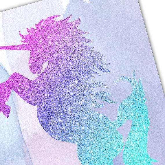 6d242e4ec Pink Purple Blue Unicorn print, Glitter Unicorn, Baby Girl Nursery ...