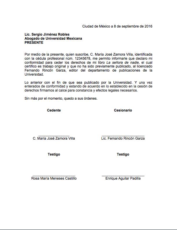 Ejemplo De Carta De Cesi 243 N De Derechos Formato De Carta