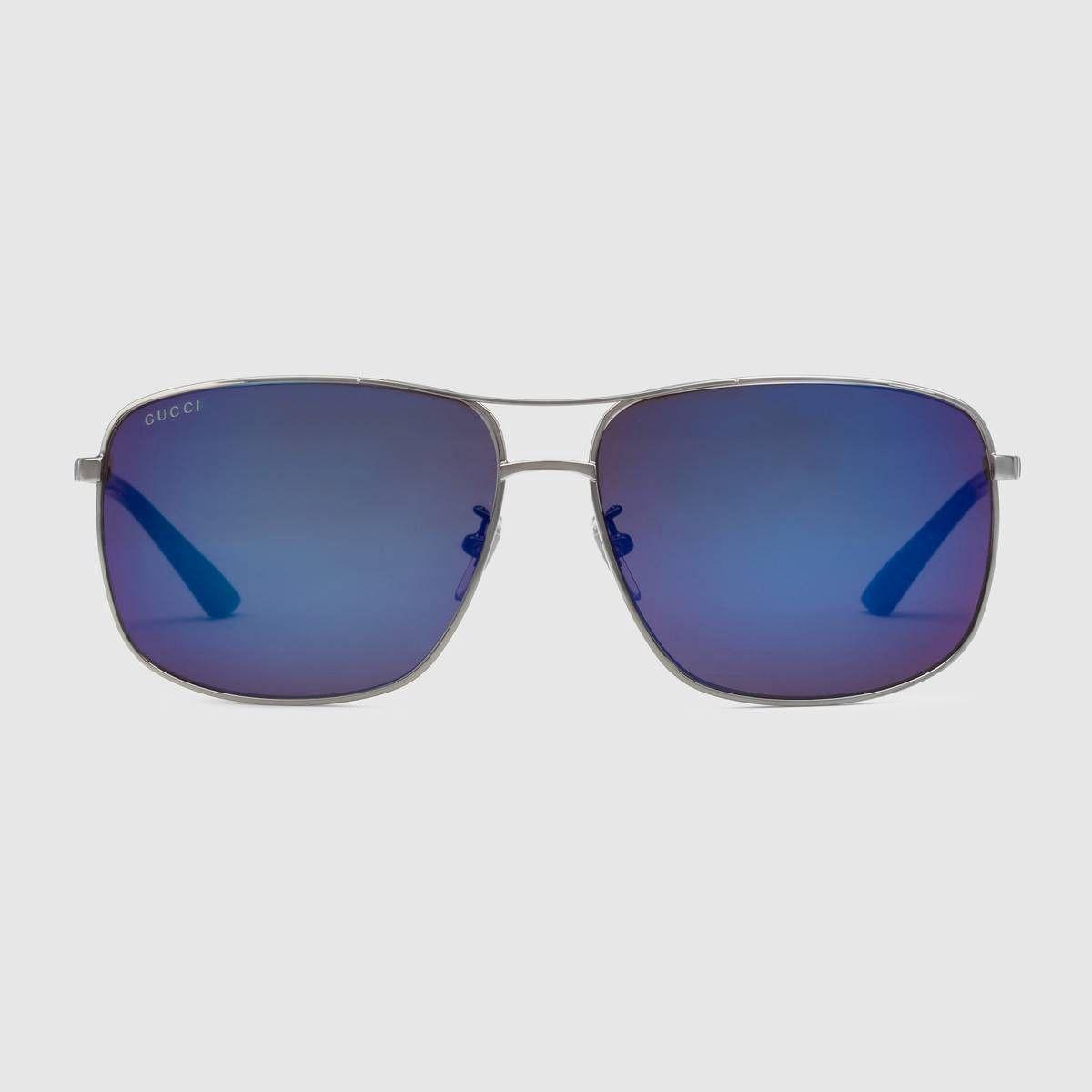 9b149fb098 GUCCI Specialized fit square-frame metal sunglasses - ruthenium metal.   gucci