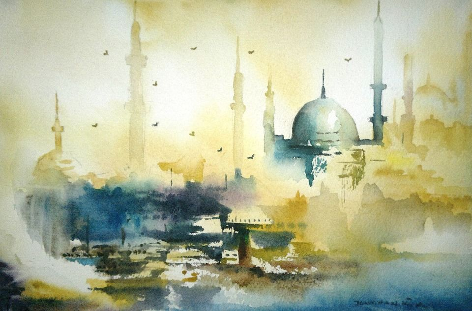 """This next painting was sent to us by our friend Jonathan Kwegyir Aggrey. Jonathan lives in Ghana and we are so glad he found us. This painting recently won an award at the International Watercolor Society Festival in Izmir, Turkey. The title is """"Great Istanbul"""". I am thinking this painting must be huge, but it measures 7x10 inches. Let us know what you think about it. Jonathan - thank you for sharing this with us - the painting is fantastic."""