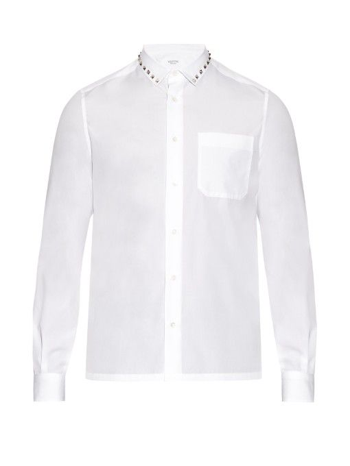 VALENTINO Rockstud-Trimmed Cotton-Poplin Shirt. #valentino #cloth #shirt