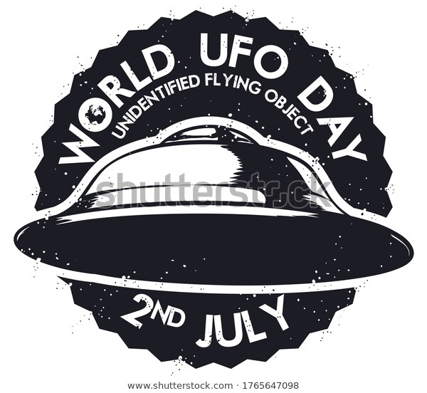 Round Stamp Flying Saucer Unidentified Flying Stock Vector Royalty Free 1765647098 Vector