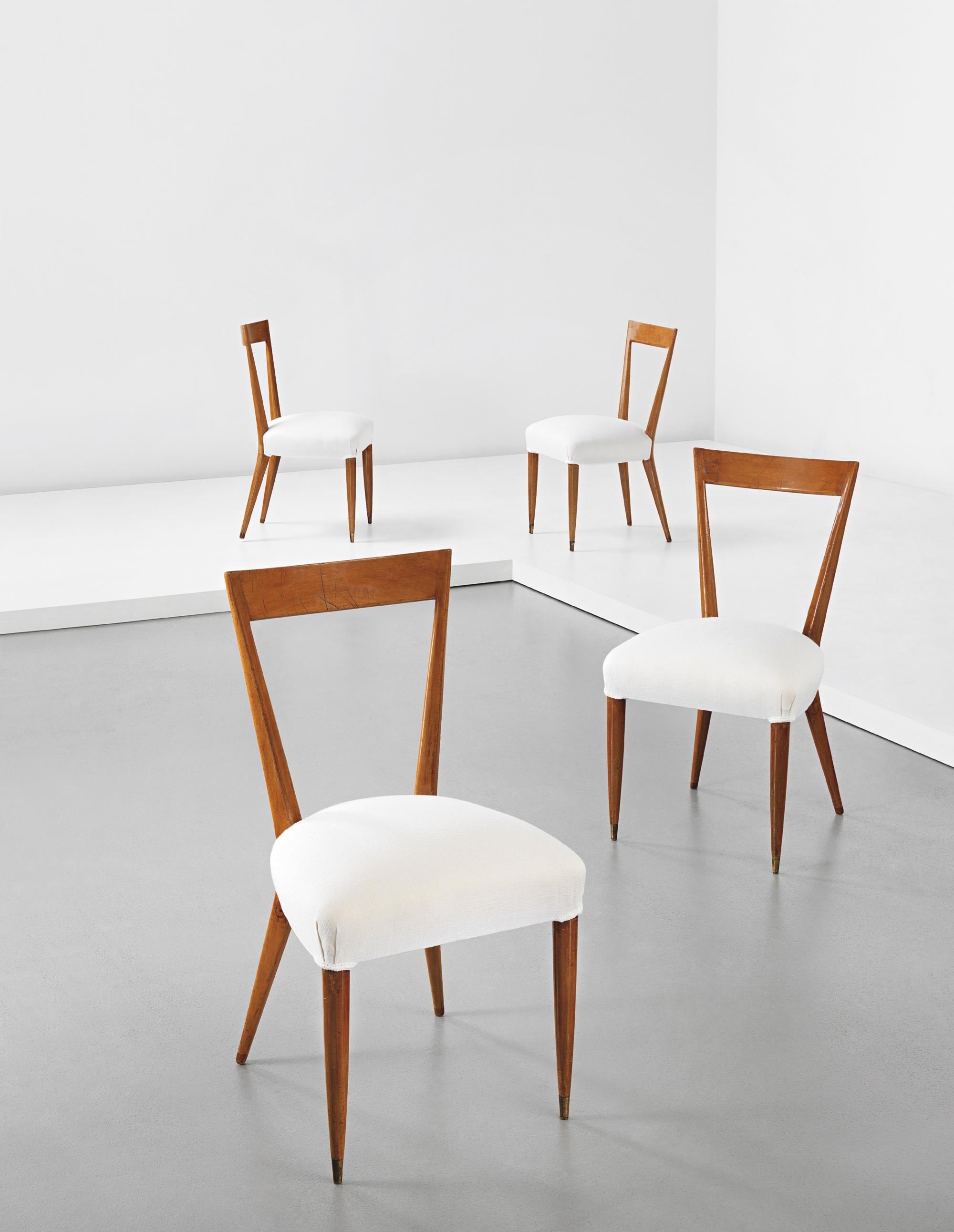 Gio Ponti Set Of Four Dining Chairs Circa 1940s Fabric Walnut Brass Each 34 1 4 X 18 1 4 X 20 3 4 In 87 X 46 4 X 52 7 Cm Dining Chairs Chair Furniture Set of four dining chairs