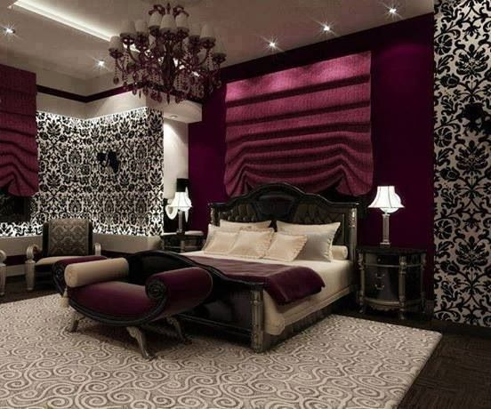 Wallpaper Feature Wall With Chandelier Bedroom