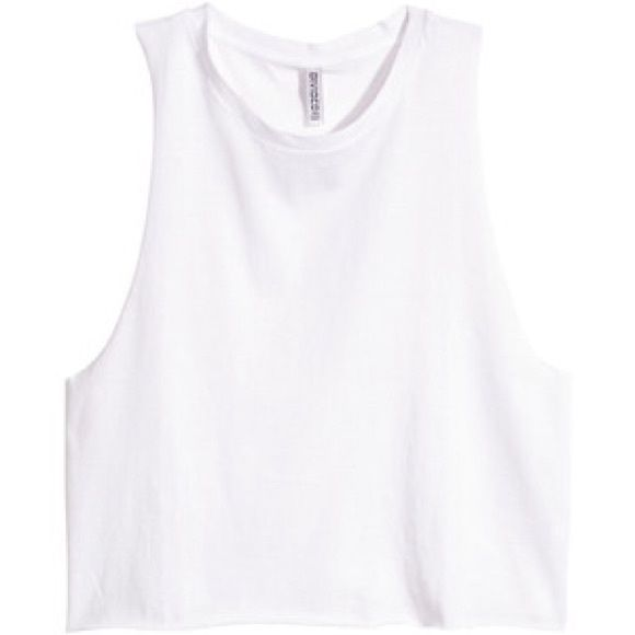 4df018efb02b H M Divided White Cropped Muscle Tee Tank Top H M Divided White Crop Muscle  Tank Top.