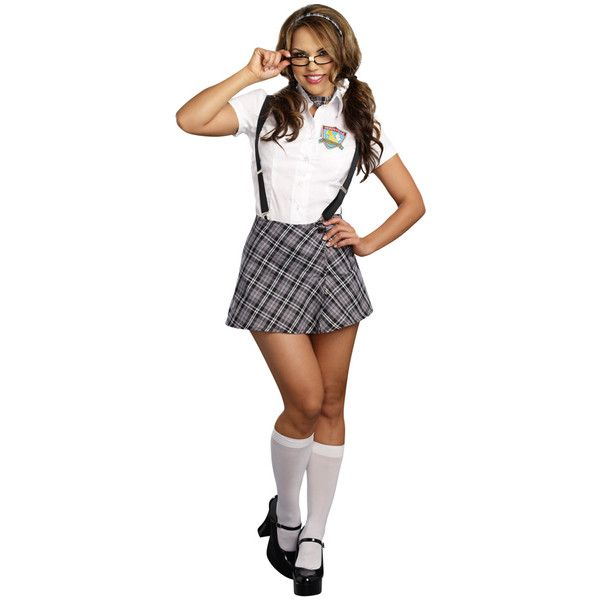 white multi 6 piece naughty to nerdy school girl costume (2 011568471