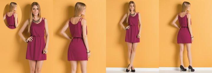Vestido Púrpura com Alça Dupla