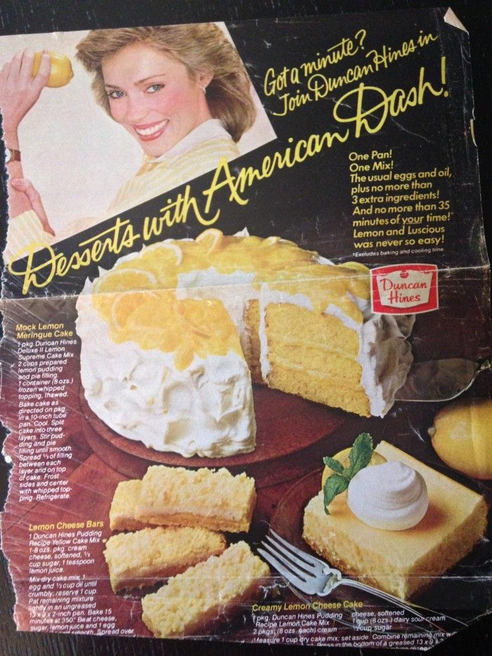 Retro Duncan Hines Cake Recipe Ad For Lemon Cakes 80s Or Early