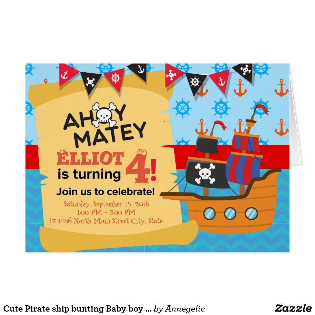 Cute pirate ship bunting baby boy birthday card boy birthday cards cute pirate ship bunting baby boy birthday card bookmarktalkfo Choice Image