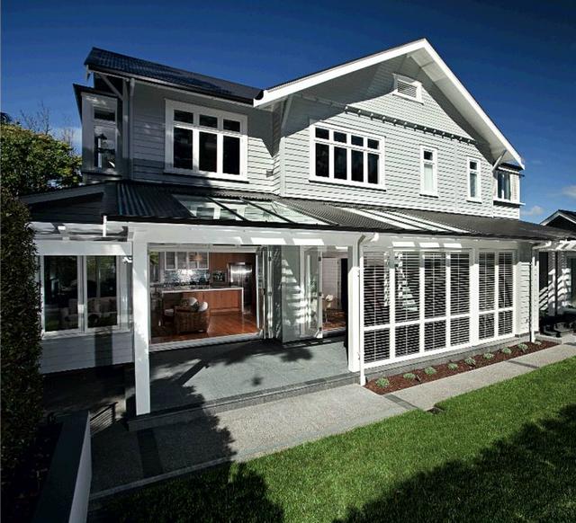 Grey Weatherboard White Pergola House Exterior Ideas