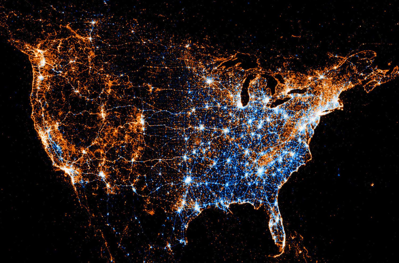 Us Night Light Map USA Map Night Light | Usa map, Image, Interesting information