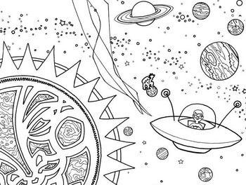 Space coloring book | Worksheets | Раскраски и Космос