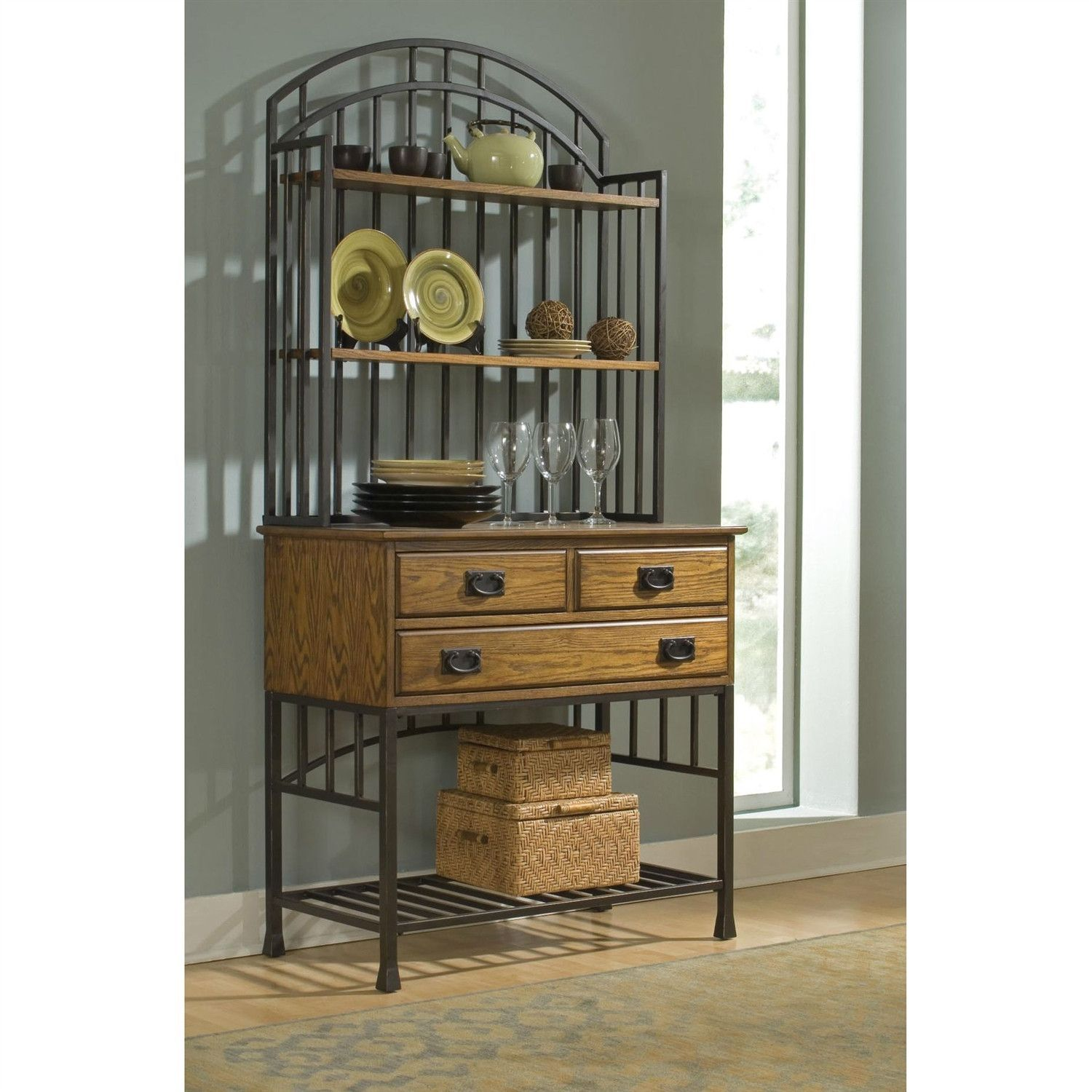Contemporary Style Metal Bakers Rack with Two Wood Utility Drawers