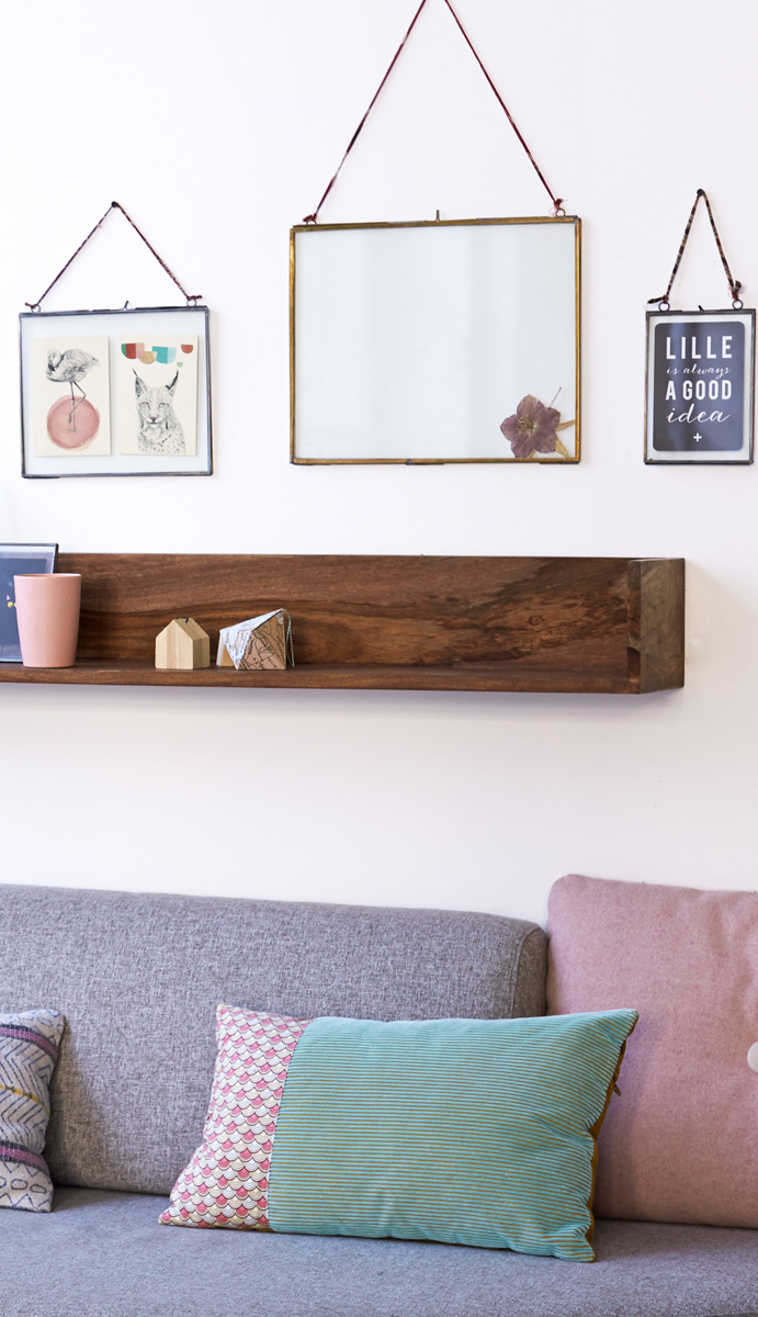 Solid wood, hand-finished accent shelf