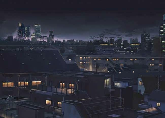 City Rooftops At Night Aesthetic Desktop Wallpaper Desktop Wallpaper Art Anime City