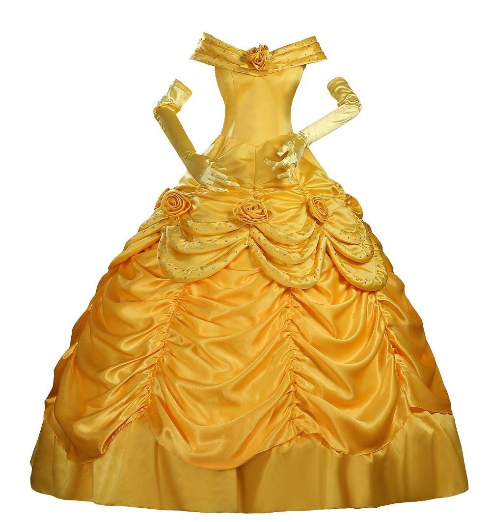 69da939984 Cheap Disfraces de Halloween para adultos Princesa Belle amarillo vestido  de la Bella y la Bestia Belle Princesa Clásico Satén Adultos Cosplay