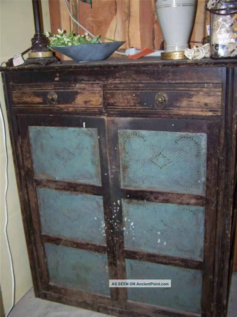 Exceptional Antique Jelly Cabinet Painted Black Shabby Primitive Storage Jam .