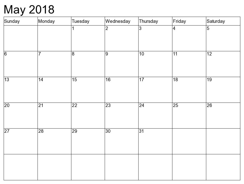 Free 5+ May 2018 Calendar Printable Template PDF - Source Template ...