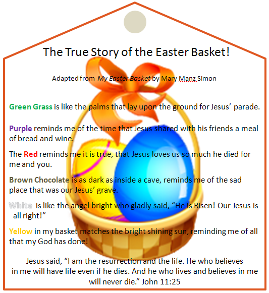 As you are putting together the Easter Baskets this weekend, what about adding in the meaning behind those fun presents? Supplies List: (most of these things you probably already have on hand, you are just emphasizing them inside the basket) Green Easter grass (even if you have another color, add in some green to associate… Continue Reading …