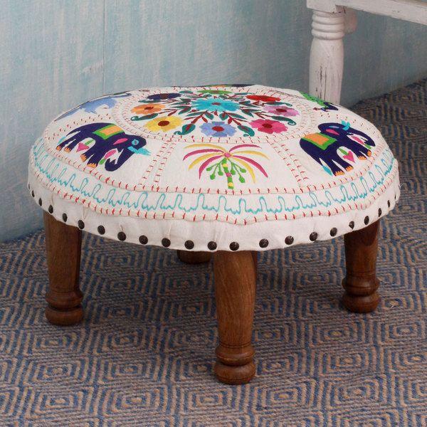 Seesham Wood Cotton Rayon \'Floral Fauna\' Foot Stool (India) | I Like ...