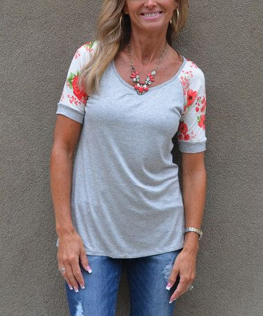 9aa26f24 Look what I found on #zulily! Gray & Coral Floral Raglan Tee - Women # zulilyfinds