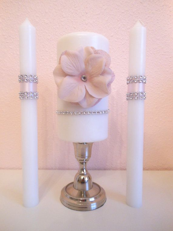 Vintage Glam Wedding Unity Candle Set By Bellabridecreations