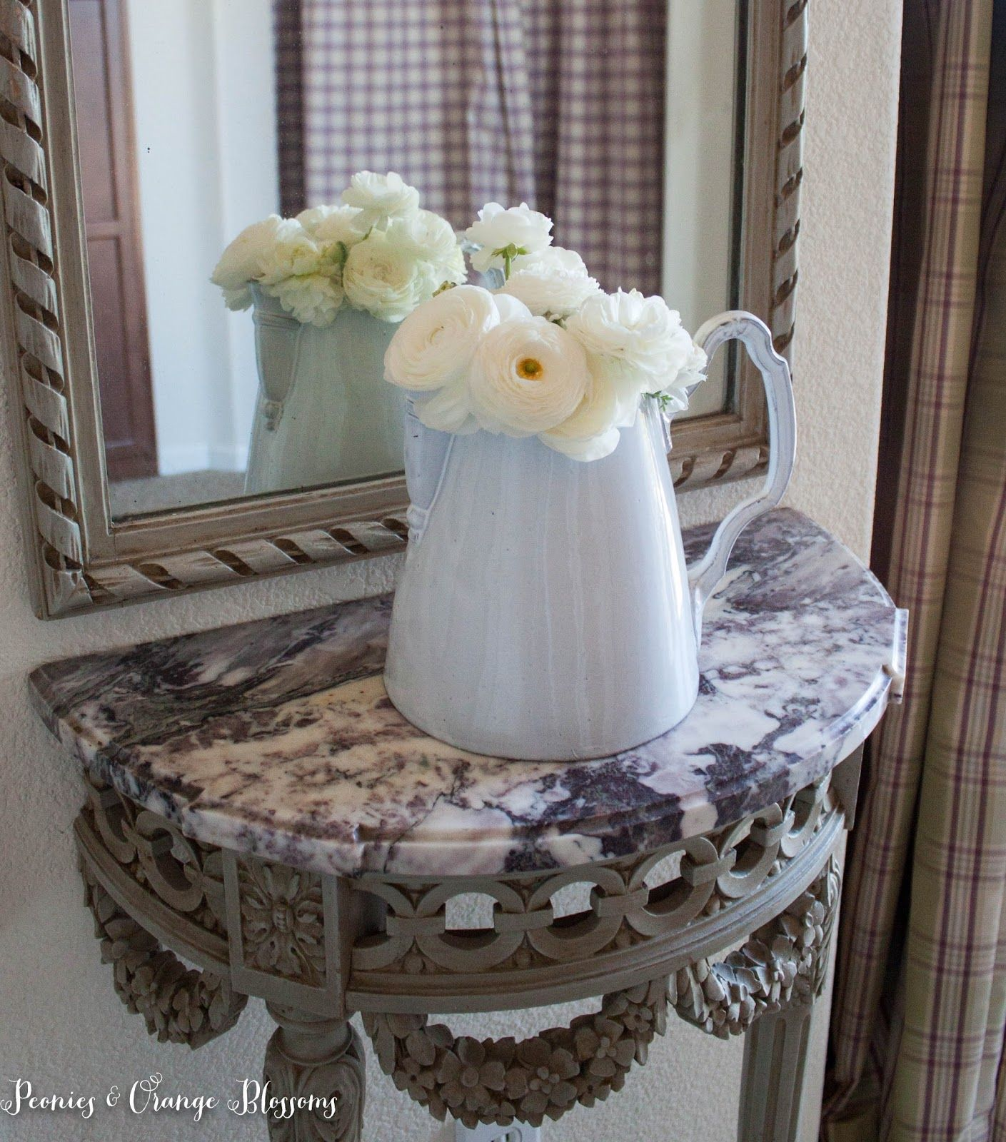 French Country Mirror with Ranunculus