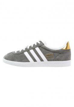Adidas Originals Women Gazelle Ash/White/Gold Metallic Skateboard Shoes