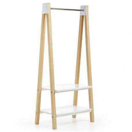 perchero madera fresno natural estantes blancos - Percheros De Madera