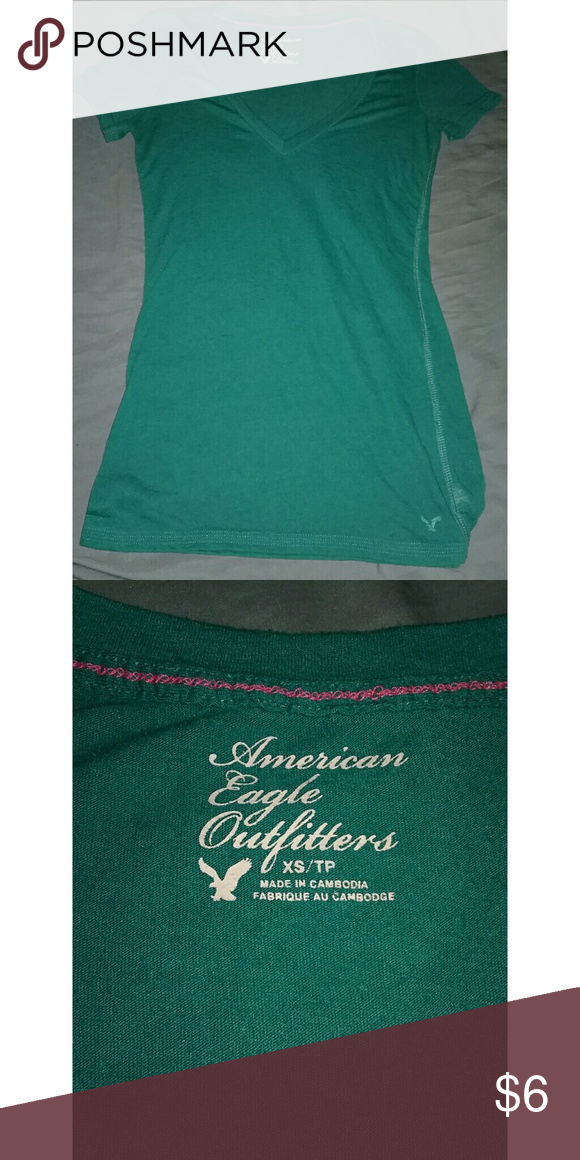 AEO  greenish blue v neck tee, sz XS to small AEO  greenish blue v neck tee, sz XS to small. American Eagle Outfitters Tops Tees - Short Sleeve