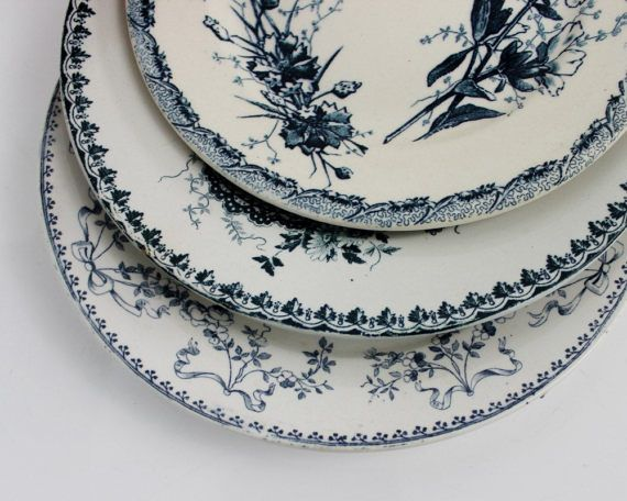 French Transferware Plates Blue Mix and Match by ohlalacamille : french decorative plates - Pezcame.Com