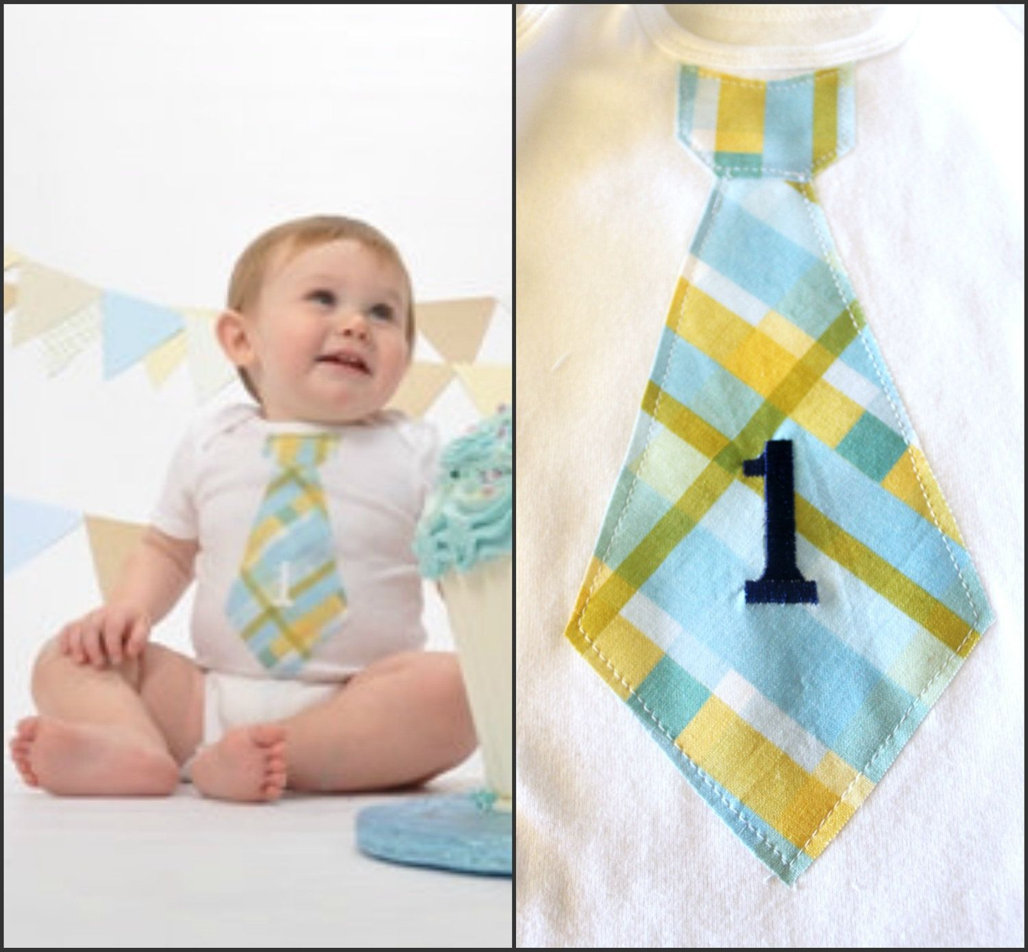 Baby Boy Birthday Gift Tie esie Any Number Age Embroidered on