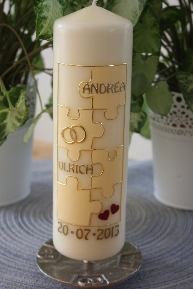 Hochzeitskerze Traukerze Puzzle Creme Hochzeitskerze Kerze
