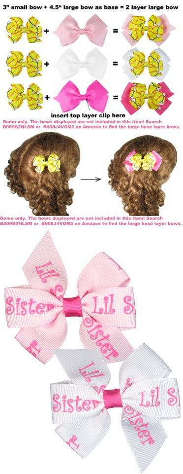 """Hip Girl Boutique 2pc 3"""" Lil Sister Grosgrain Ribbon Pinwheel Hair Bow Alligator Clips, White and Pink-One Size"""