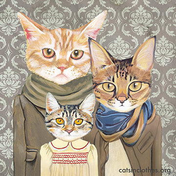 Family Portrait Ii Cats In Clothes Fine Art Print By Etsy Cat Portraits Cats Illustration Cat Artwork