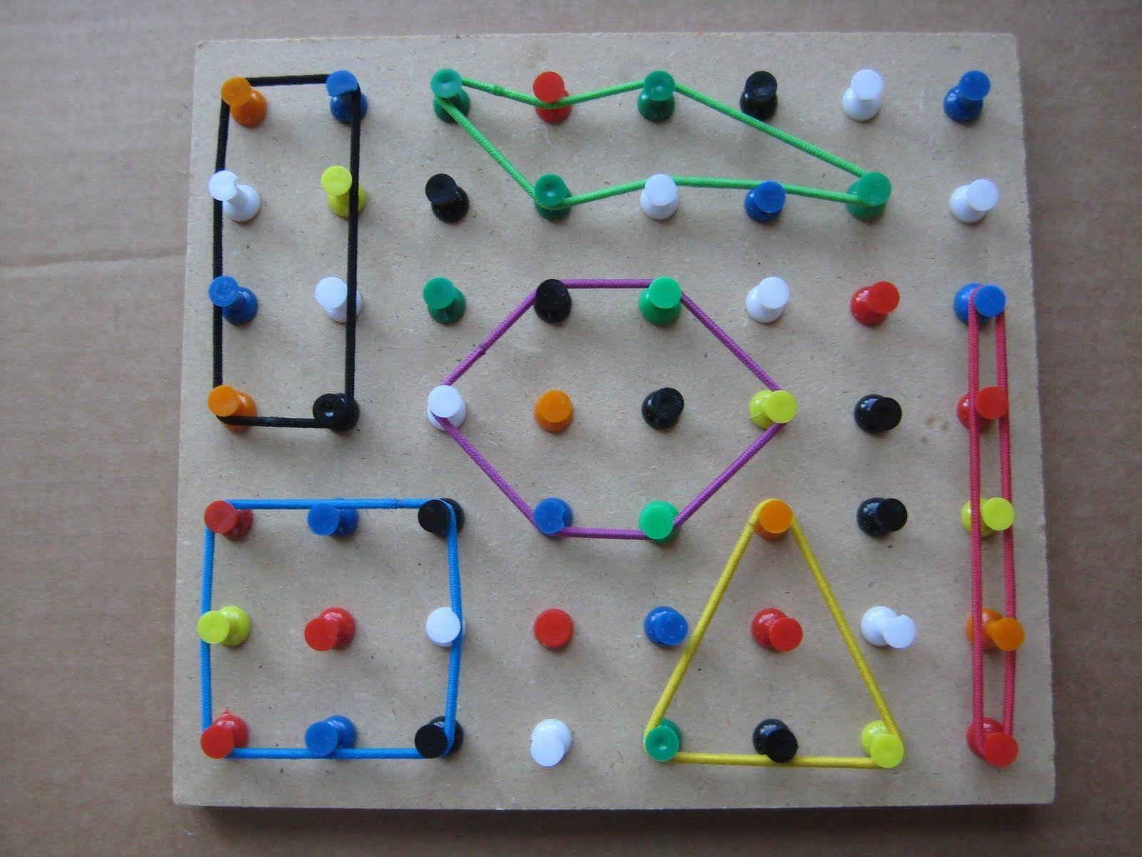 Make A Geo Board With Thumb Tacks And Hair Bands