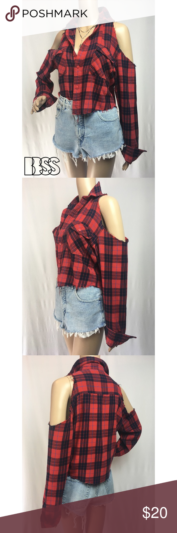 Red flannel fabric  VINTAGE REWORKED OPEN SHOULDER CROP FLANNEL VINTAGE REWORKED OPEN
