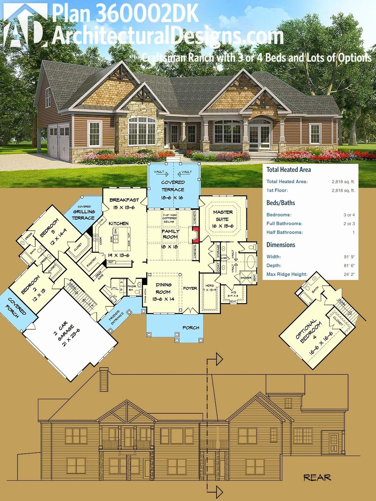 4 Bedroom Craftsman House Plans Lovely Plan Dk Craftsman Ranch With 3 Or 4 Beds And Lots Of In 2020 Craftsman House Plans New House Plans Ranch House Plans