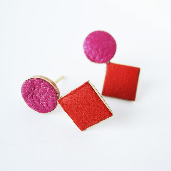 Brass and leather earrings red and fuchsia by sewasong on Etsy, $32.00