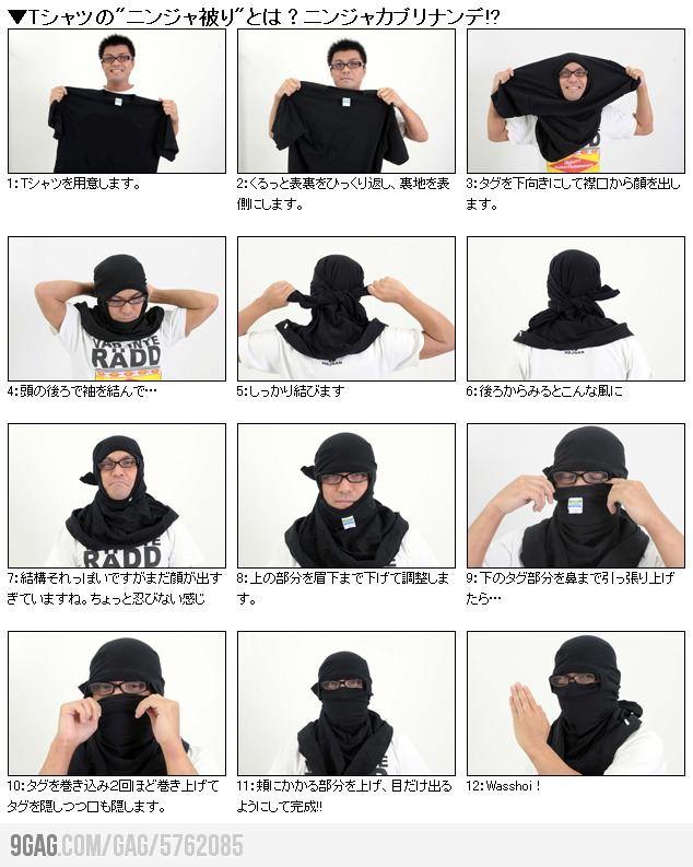 How To Turn Your T Shirt Into A Mask Ninja Mask Diy Ninja Costume Ninja Mask Tshirt